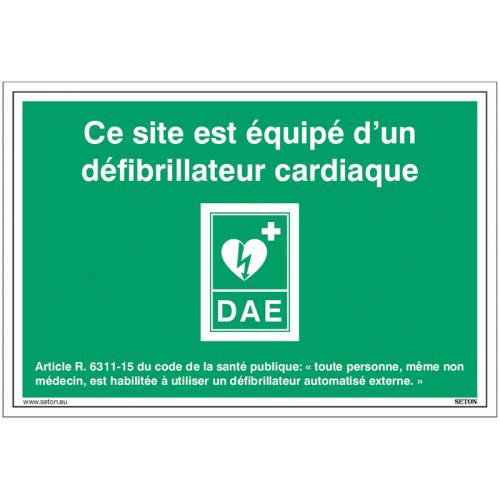 Signalétique DAE - Ce site est équipé d'un défibrillateur cardiaque